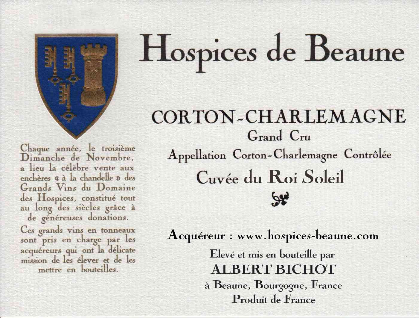 Encheres-auction-HospicesdeBeaune-AlbertBichot-CortonCharlemagne-GrandCru-Cuvee-RoiSoleil