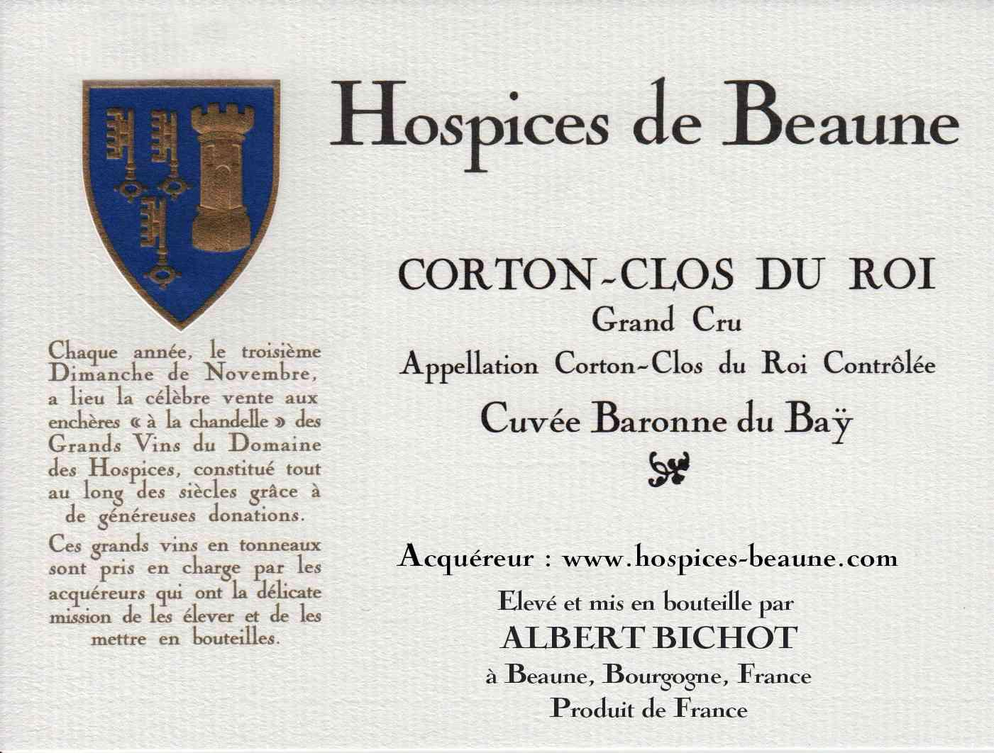 Encheres-auction-HospicesdeBeaune-AlbertBichot-CortonClosduRoy-GrandCru-Cuvee-BaronneduBay