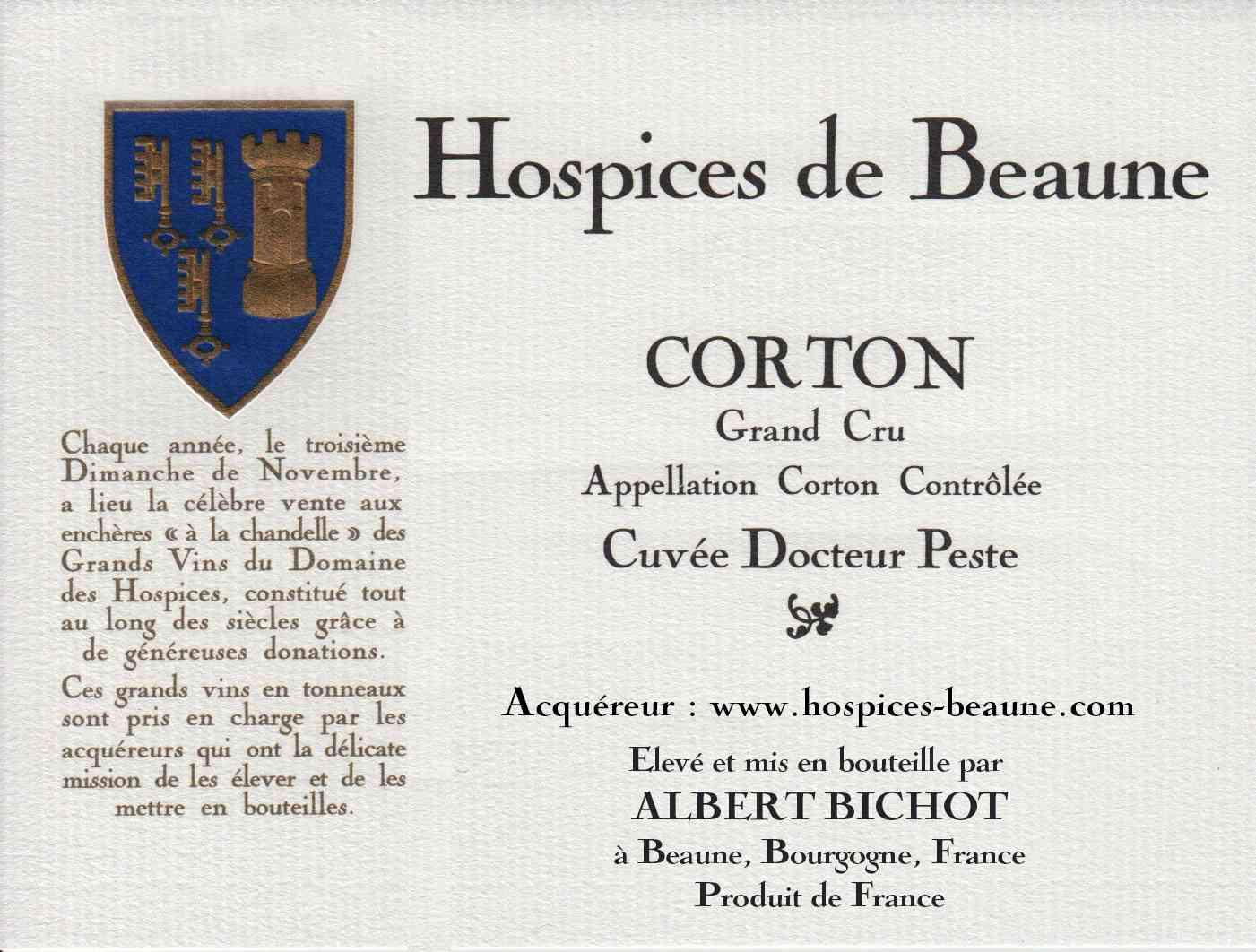 Encheres-auction-HospicesdeBeaune-AlbertBichot-CortonGrandCru-Cuvee-DocteurPeste