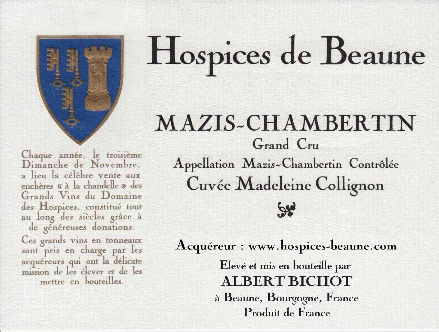 Encheres-auction-HospicesdeBeaune-AlbertBichot-MazisChambertin-GrandCru-Cuvee-MadeleineCollignon