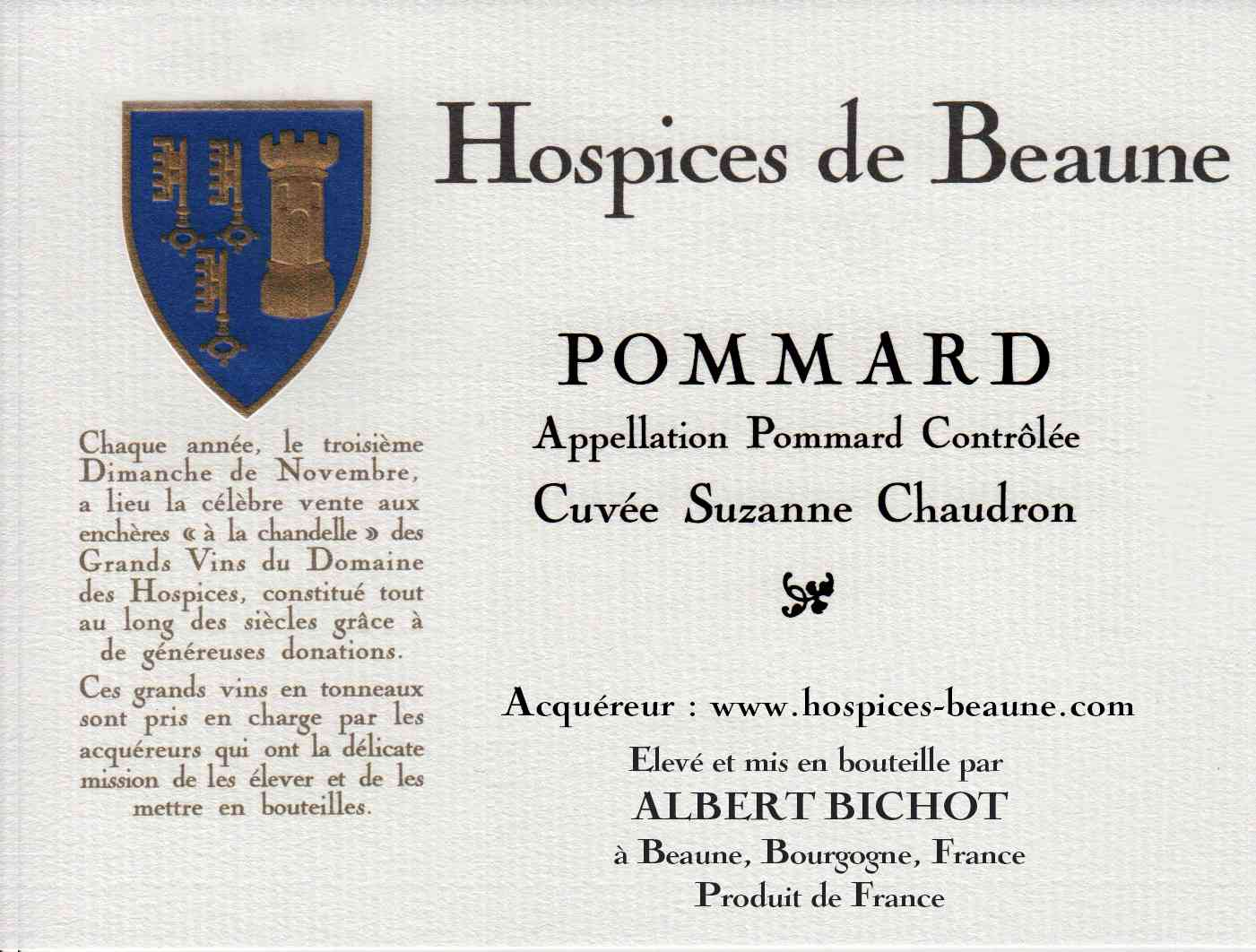 Encheres-auction-HospicesdeBeaune-AlbertBichot-Pommard-Cuvee-SuzanneChaudron
