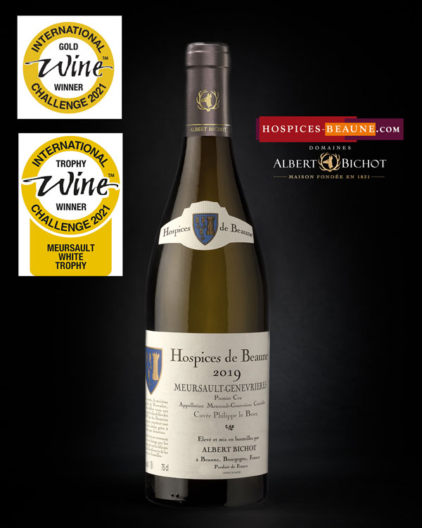 Meursault -Genevrières 1er Cru cuvée Philippe le Bon 2019 élevé par Albert Bichot  97/100 - médaille d'Or International Wine Challenge - Meursault Trophy