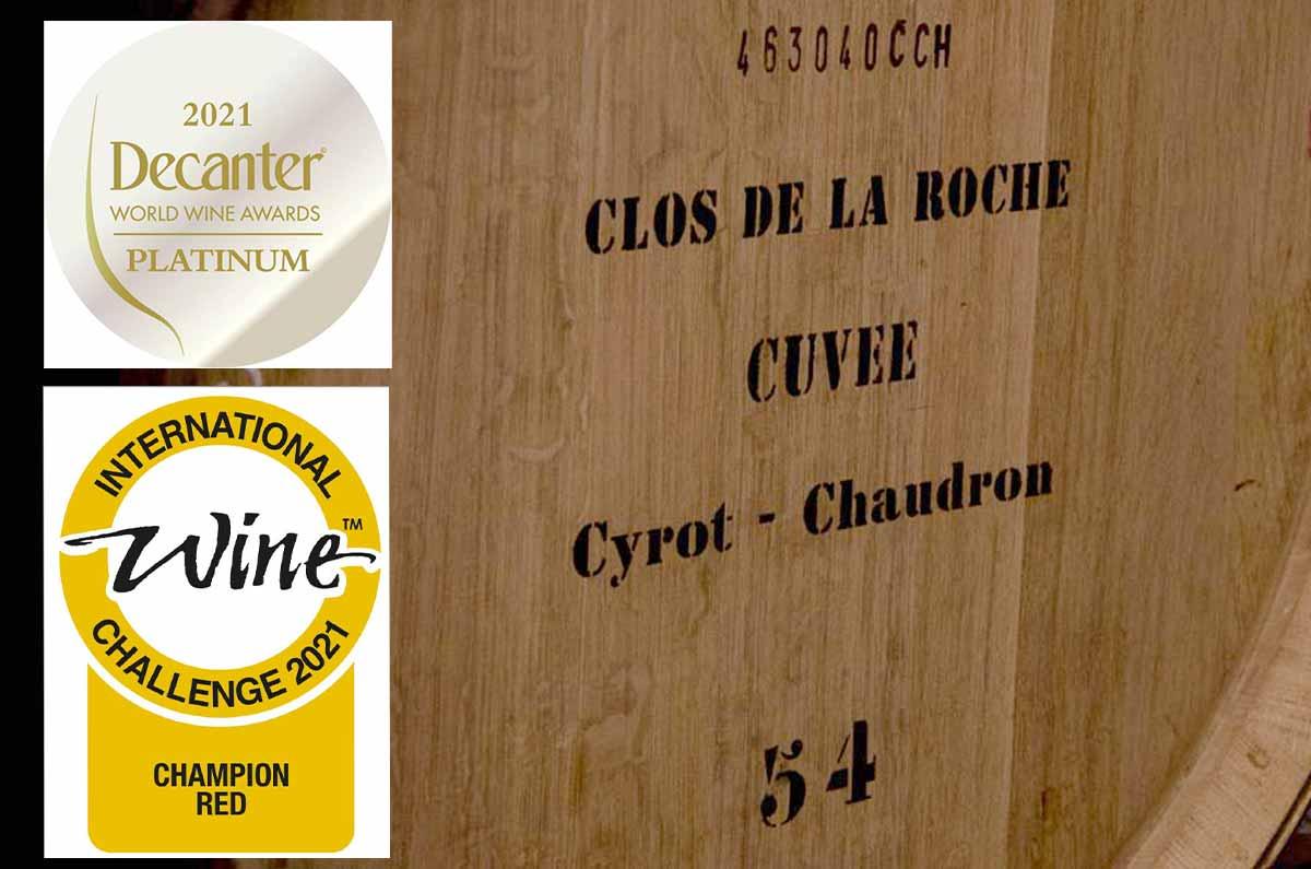 Clos de la Roche 2019 élevé par Albert Bichot : meilleur vin rouge au monde à l'International Wine Challenge et Platinum Awards au Decanter World Wine Awards